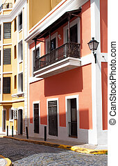 Old San Juan - A street and homes in Old San Juan, Puerto...