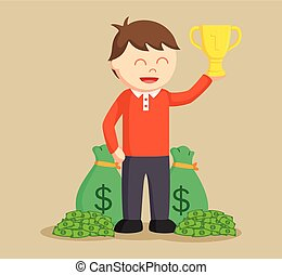 man winning trophy and money