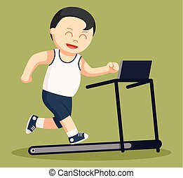healthy fat man run on a tread mill