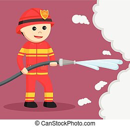 firefighter use water hose