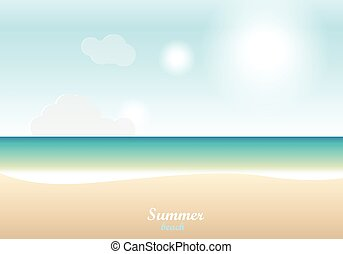 Summer beach, sand and sea and sky background with text -...