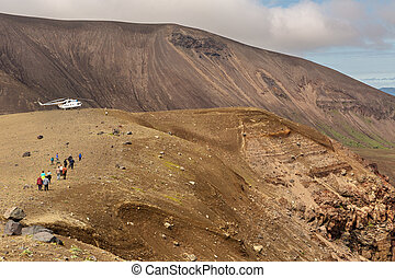 Tourist helicopter in Caldera volcano Ksudach. South...