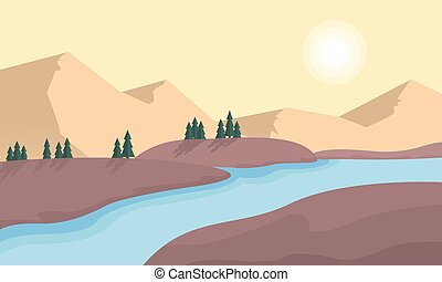 Mountain and river landscape vector