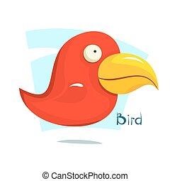 Big red bird, vector illustration