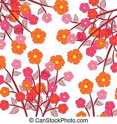 装飾, 植物, 花, 隔離された, アイコン