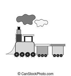 train toy design - cute train toy silhoutte over white...