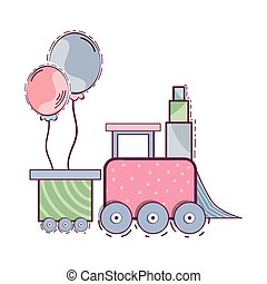 train toy design - cute pink train toy with balloons...