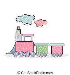 train toy design - cute pink train toy over white...