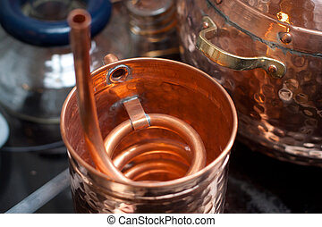 Copper accessories for distillation.