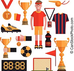Soccer icons set. Football isolated design elements in flat...