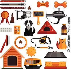 Vector set of pets accessories isolated on white background. Dogs and cats design elements, icons in flat style