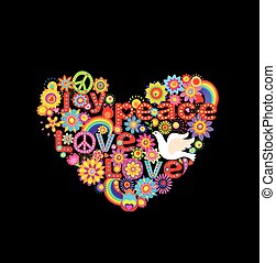 Applique with colorful flowers hippie heart and paper dove