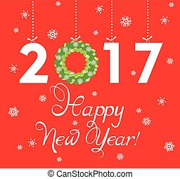 Paper applique for New Year 2017 greeting with hanging xmas...