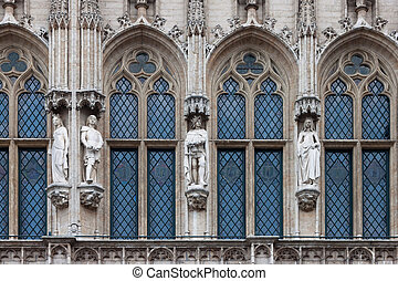 Detail of the gothic architecture of the Town Hall of...