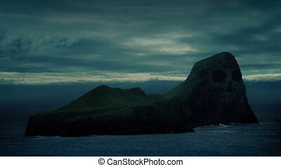 Island With Skull Face On Cliffs - Rocky island out at sea...