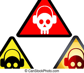 Deejay Skulls - A set of warning sign icons featuring deejay...