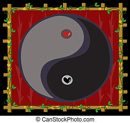Yin Yang Symbol of Balance with Hea