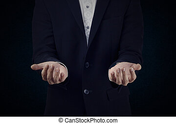 set 9. businessman is acting. - Set 9. A man show the hand....