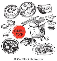 Chinese Dim Sum Dish in Ink Style - A vector illustration of...