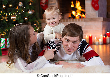 christmas, x-mas, family, people, happiness concept - happy...