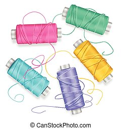Thread Spool Set Background. Vector - Thread Spool Set...
