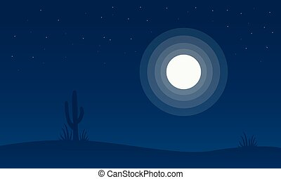Silhouette of cactus with moon