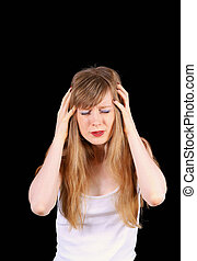 Frustrating migraine - Devastated young women struggling...