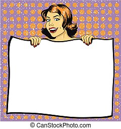 Woman holds blank white paper poster. Pop art comic retro...