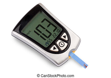 Blood sugar level - Glucometer isolated against a white...