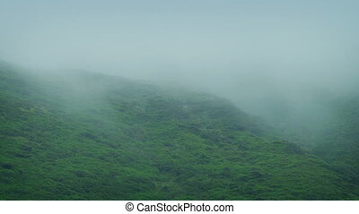 Mist Rolls Across Rugged Hillside - Thick mist moves over...