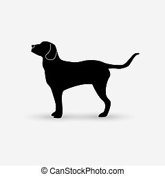 Vector silhouette of a dog on white background. - Vector...