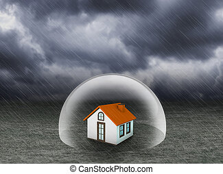 shield covering home under rain
