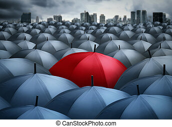 uniqueness - red umbrella outstanding from the others,...