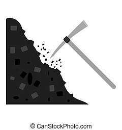 Pickaxe icon in monochrome style isolated on white...