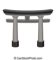 Torii icon in monochrome style isolated on white background...