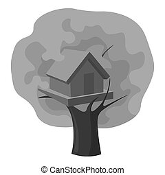 Tree house icon in monochrome style isolated on white...