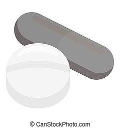 Pill icon monochrome. Single medicine icon from the big medical, healthcare monochrome.