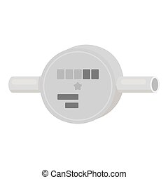 Water meter icon in monochrome style isolated on white...