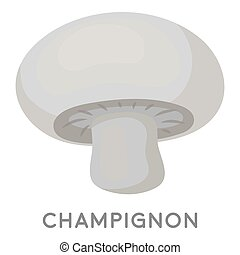 Champignon icon in monochrome style isolated on white...