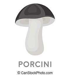 Porcini icon in monochrome style isolated on white...