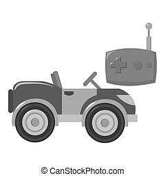 RC car icon in monochrome style isolated on white...