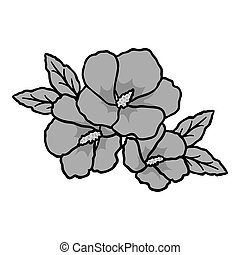 Rose of sharon icon in monochrome style isolated on white...