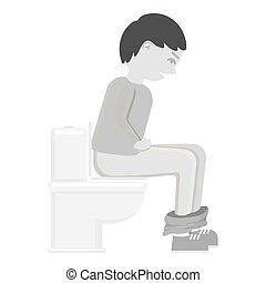Diarrhea icon monochrome. Single sick icon from the big ill,...
