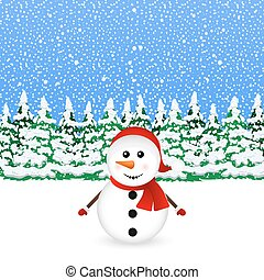 Snowman in snowy winter Christmas forest