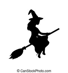 Young witch flying on a broomstick silhouette on a white...