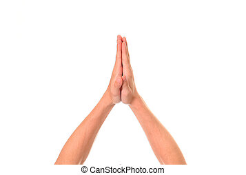 Hands Up Isolated - Hands Up in Pray Gesture Isolated on the...