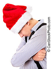Sad Teenager in Santa Hat on the White Background