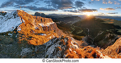 Witner autumn mountain at sunset, Val Gardena from peak...