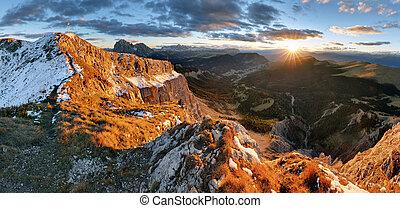 Witner autumn mountain at sunset, Val Gardena from peak...