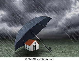 umbrella covering home under rain